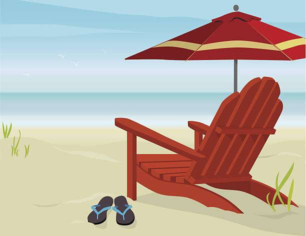 Royalty free beach chair clip art vector images illustrations view of beach vector art illustration voltagebd Gallery