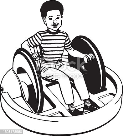 View of boy sitting on vehicle