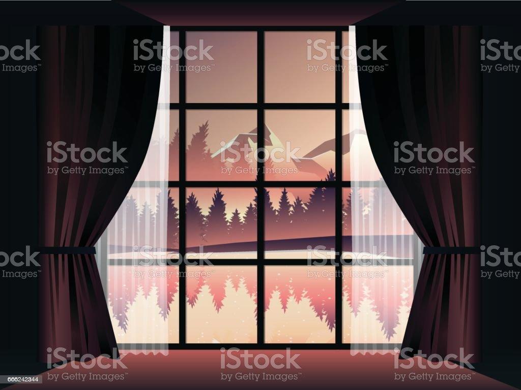 深い森と部屋で夕暮れ時に湖のビュー イラストレーションのベクター
