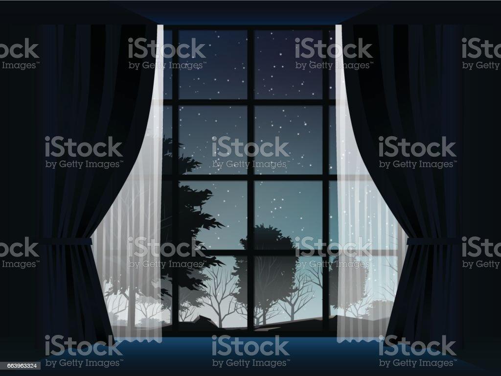 夜の部屋での森の眺め イラストレーションのベクターアート素材や画像