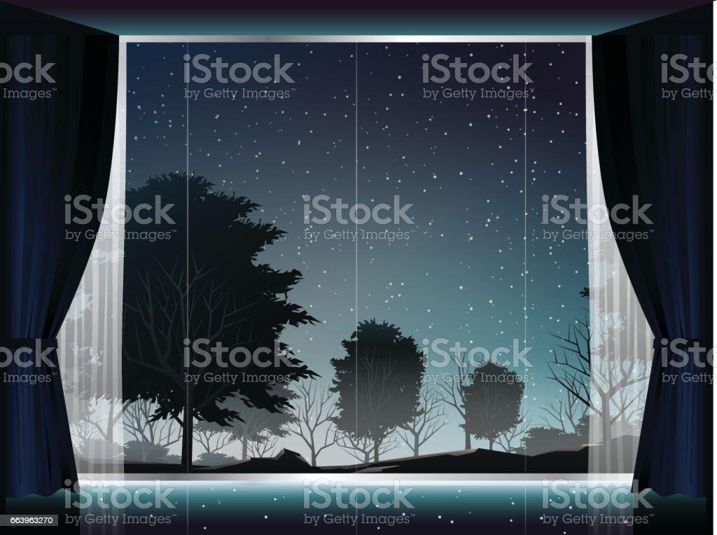 大きな窓と部屋で夜の深い森のビュー イラストレーションのベクター