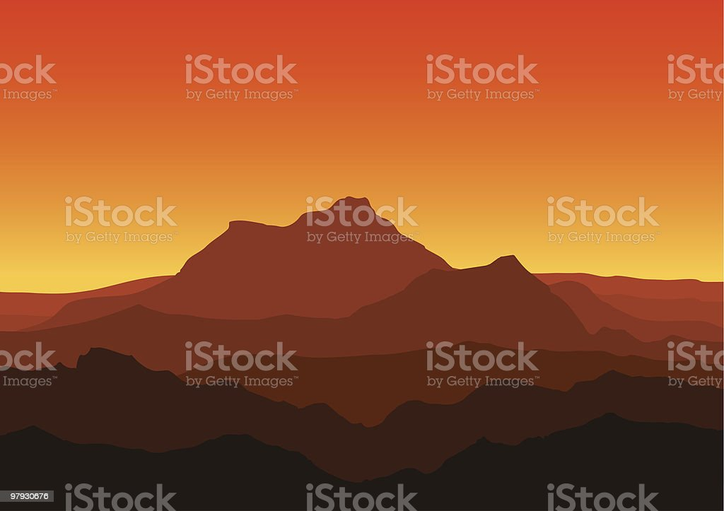 View of huge mountains in the evening royalty-free view of huge mountains in the evening stock vector art & more images of color image
