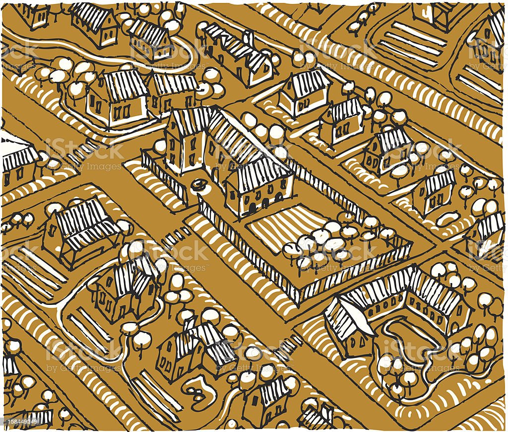 view of large village from above vector art illustration