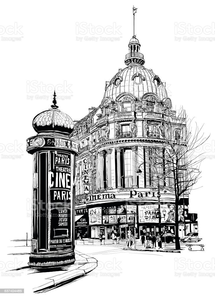 View of Paris at the 'grand boulevard' vector art illustration