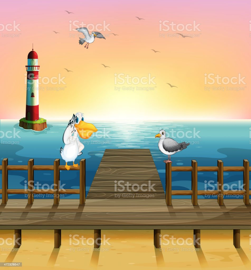 View of port with the birds vector art illustration
