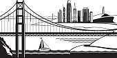 View of San Francisco from Golden Gate Bridge - vector illustration