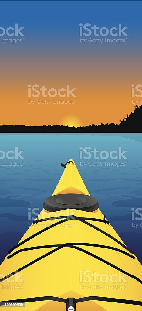 View of sunset on a kayak in the water royalty-free view of sunset on a kayak in the water stock vector art & more images of adventure