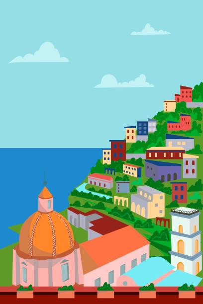 bildbanksillustrationer, clip art samt tecknat material och ikoner med utsikt över staden från ovan - hav, berg, arkitektur. vektorillustration. pittoreska amalfikusten. italien - amalfi