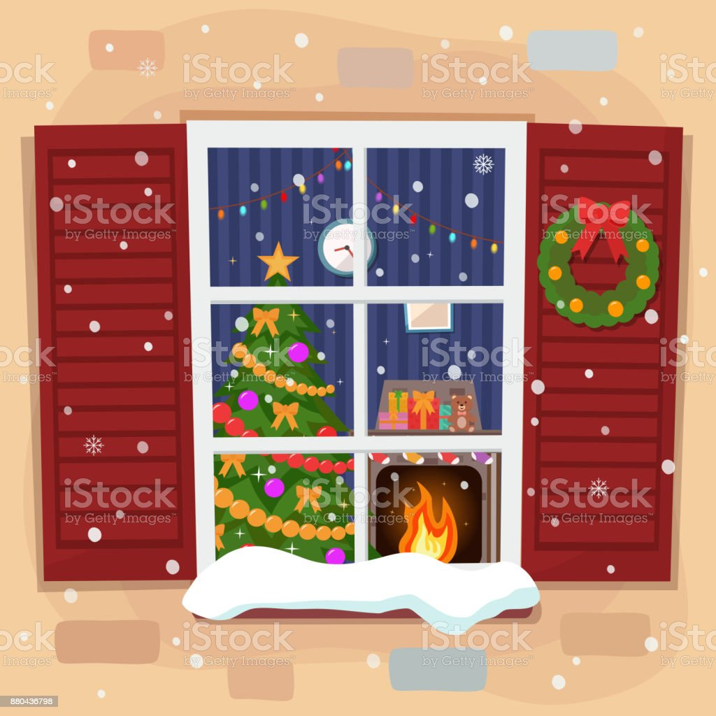 Uitzicht Op De Gezellige Kerst Woonkamer Met Een Boom En De Open