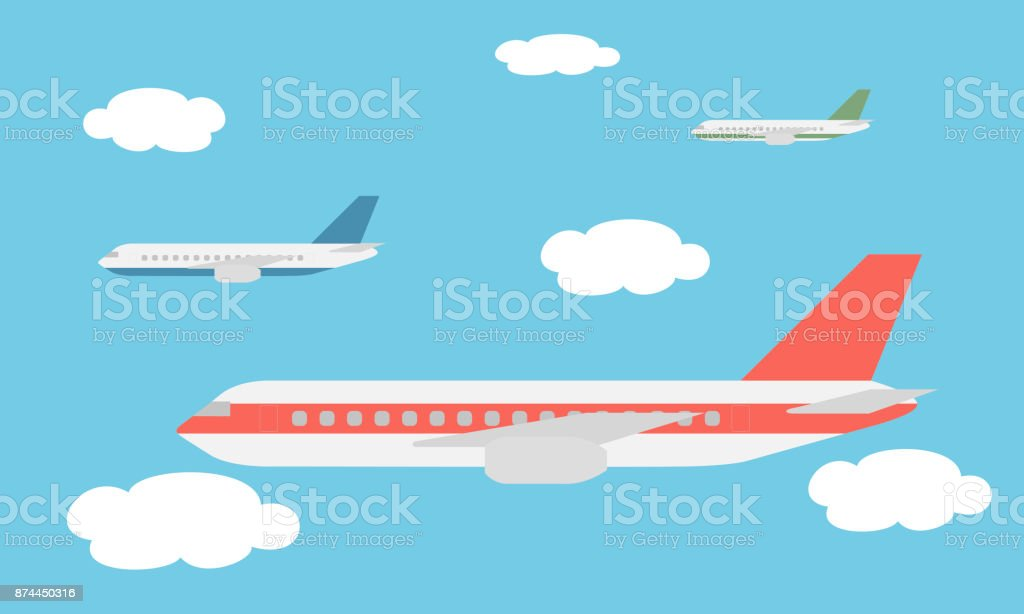 View of the large and fast three line airliners flying among the clouds in the blue sky - vector - illustrazione arte vettoriale