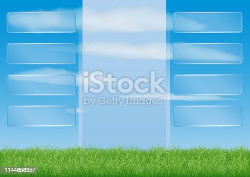 view of the meadow with green grass. blue sky and clouds. light post for information text. presentation background. transparent interface buttons