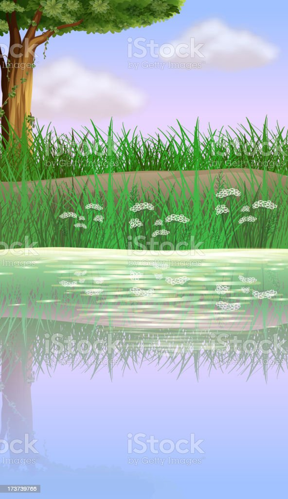 View of the river near road vector art illustration