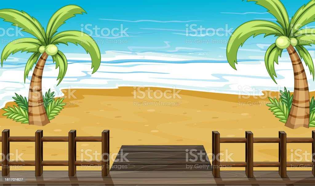 View of the seaside with coconut trees royalty-free stock vector art