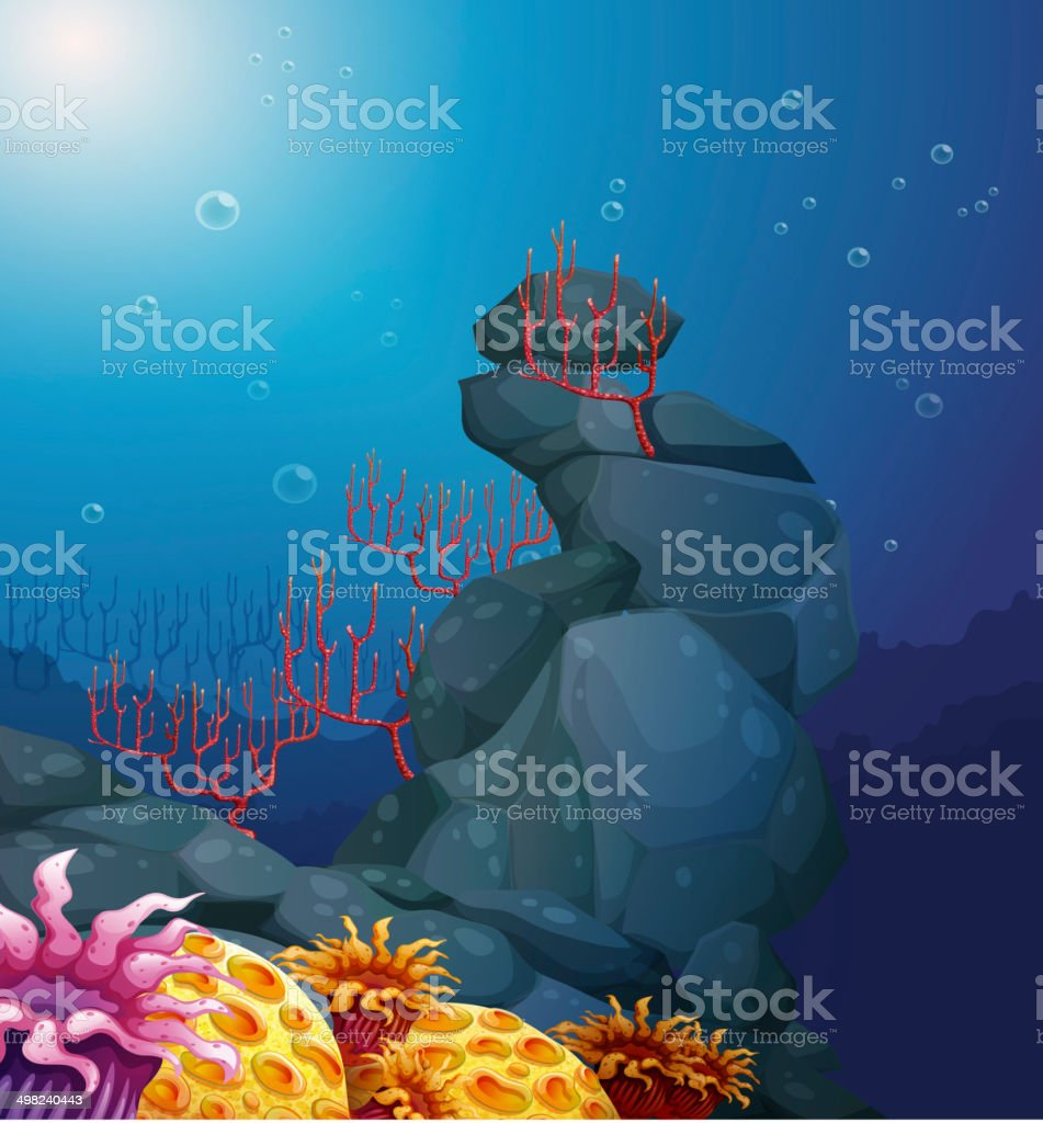 View of the underworld with rocks and coral reefs vector art illustration