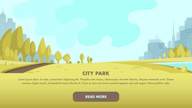 bildbanksillustrationer, clip art samt tecknat material och ikoner med visa panorama park centrum stora metropolen - naturparksområde