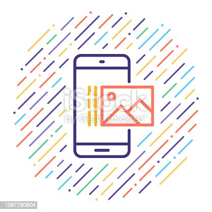 istock View Pictures on Mobile Vector Line Icon Illustration 1087290604