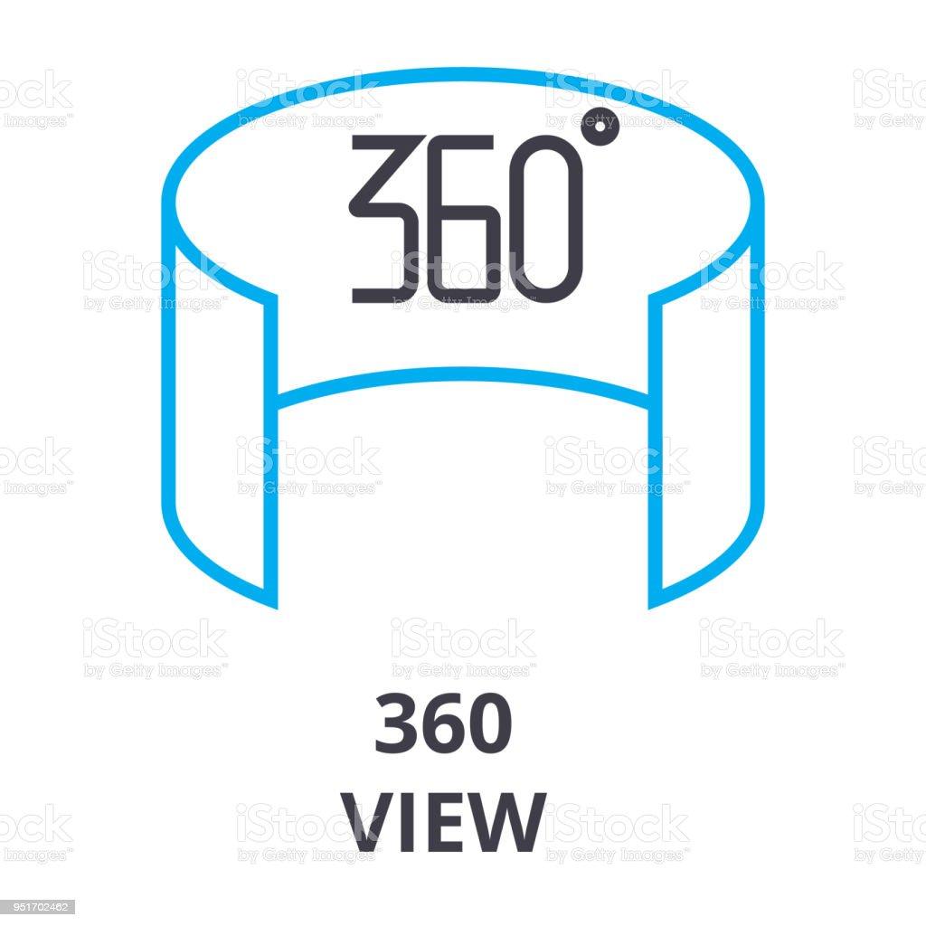 360 Ve el icono de la delgada línea, signo, símbolo, ejemplares, concepto lineal, vectores - ilustración de arte vectorial