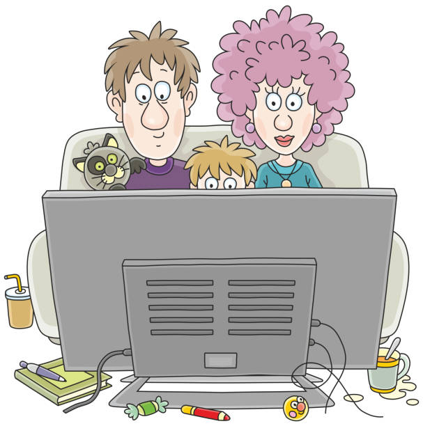 TV viewers A funny family sitting on their sofa and watching TV, a vector illustration in cartoon style family watching tv stock illustrations