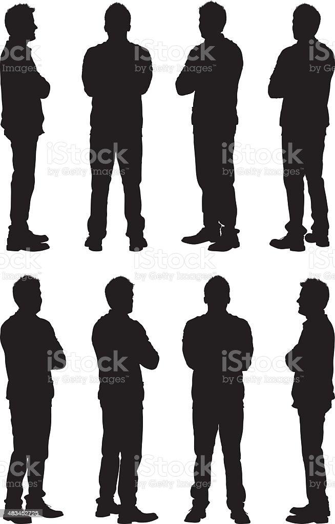 Vista de siluetas de Hombre casual - ilustración de arte vectorial