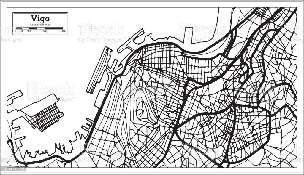 Vigo Spain City Map In Retro Style Outline Map Stock Vector Art