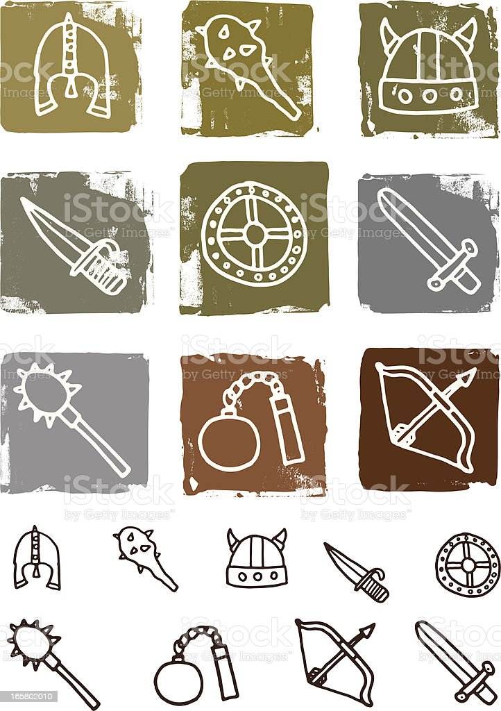 Viking and warrior block icon set royalty-free stock vector art