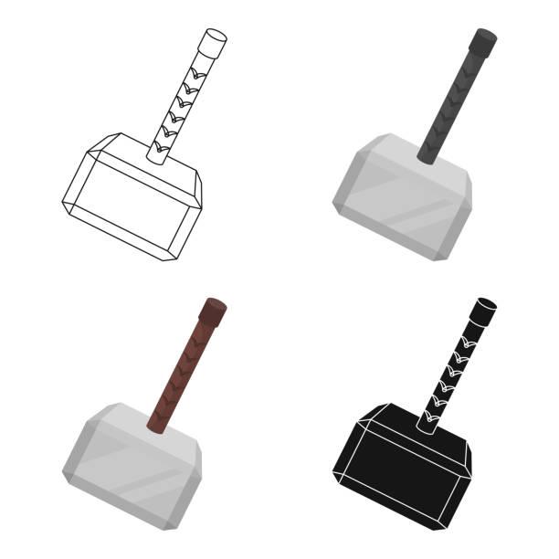 Viking battle hammer icon in cartoon style isolated on white background. Vikings symbol stock vector illustration web - illustrazione arte vettoriale