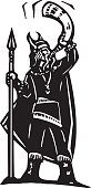 Woodcut style image of a viking warrior with a spear blowing a war horn