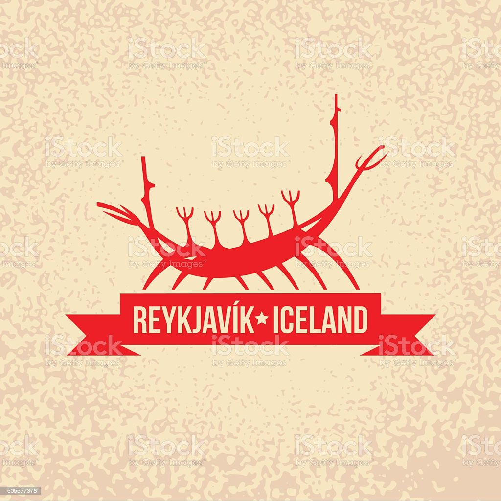 Viking boat. The symbol of  Reykjavik, Iceland. vector art illustration