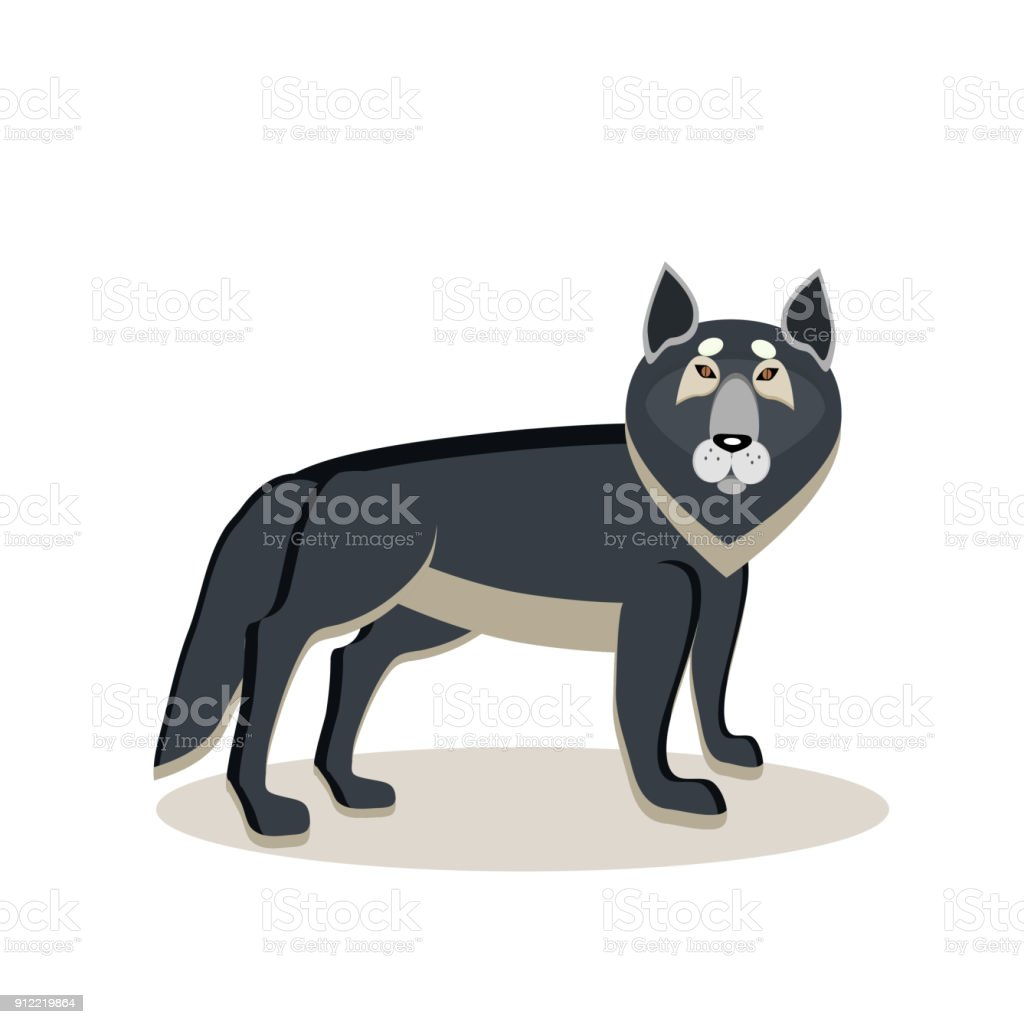Viking cartoon character. A large gray wolf, an assistant to the god Odin. Witch. Black Raven. Vector illustration. Flat style. vector art illustration