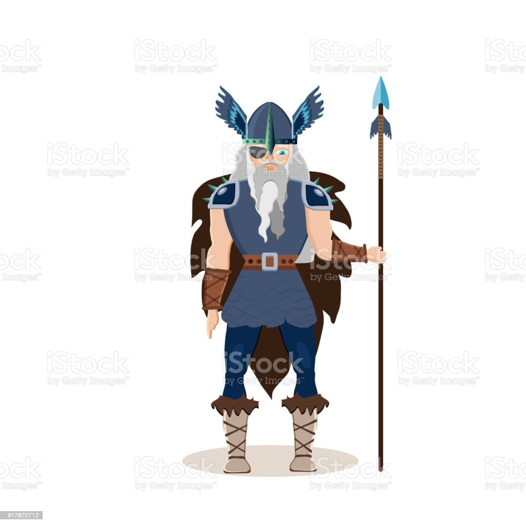 Viking cartoon character. Scandinavian god Odin ( Wotan)  with a spear. Vector illustration. Flat style. vector art illustration