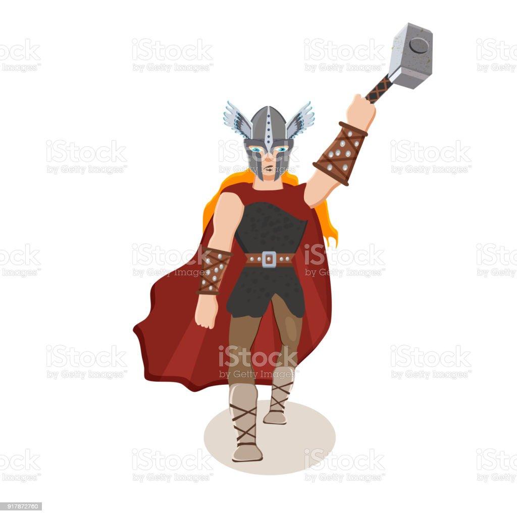 Personnage De Dessin Anime De Viking Dieu Scandinave Thor Avec Un Marteau De Tonnerre Illustration Vectorielle Plat Style Vecteurs Libres De Droits Et Plus D Images Vectorielles De Adulte Istock