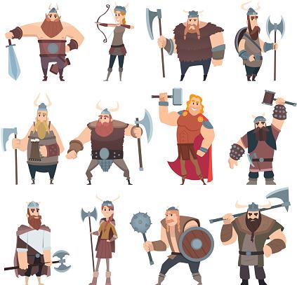 Viking cartoon. Scandinavian mythologyy characters norway costume vikings warrior male and female vector illustrations