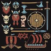 Viking elements vintage set. Set to create a Viking coat of arms.