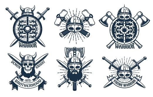 Viking emblem set in retro stamp style