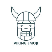 Viking emoji vector line icon, linear concept, outline sign, symbol