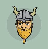 istock Viking face hand drawn illustration 1303902072