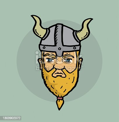 istock Viking face hand drawn illustration 1303902072