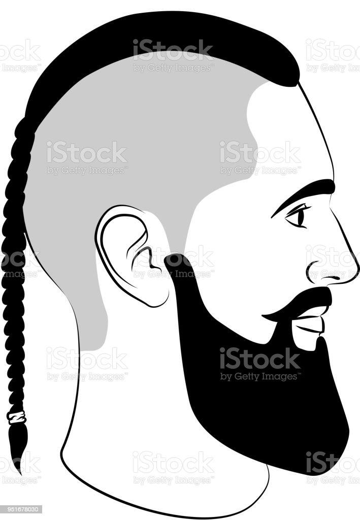 Viking Frisur Mode Schild Mit Zopf Und Bart Stock Vektor Art Und