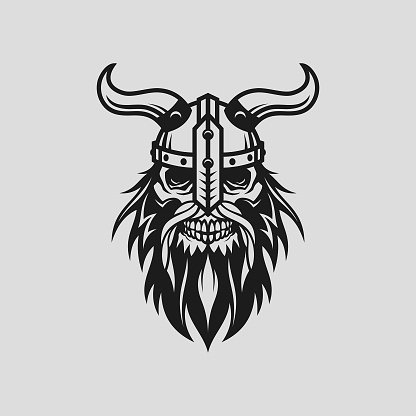 Viking head skull in helmet with horns - stylized cut out vector silhouette