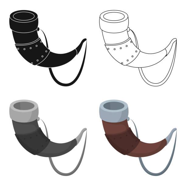 bildbanksillustrationer, clip art samt tecknat material och ikoner med viking horn ikonen i tecknad stil isolerad på vit bakgrund. vikings symbol lager web vektorillustration. - blåsinstrument
