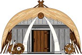 Vector illustration of a Viking house with thatched roof.