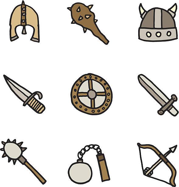Viking icon doodles vektorkonstillustration