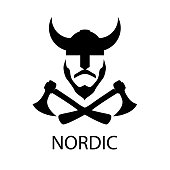 Viking in a horned helmet with crossed axes. Silhouette of scandinavian medieval ancient warrior.