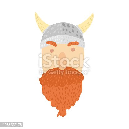 istock Viking in helmet with horns isolated on white background. Cartoon cute face viking with beard in doodle style. 1288222176