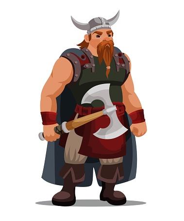 Viking in horned helmet holding an axe