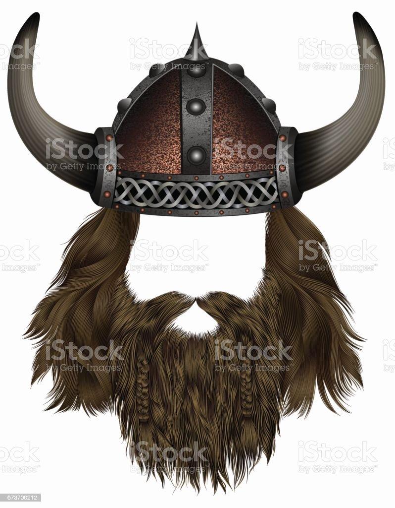 Ilustración de Vikingo En Casco Con Cuernos Peluca De La Máscara ...
