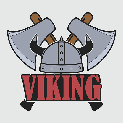 Viking logo with helmet and crossed axes. Clothes design, print for t-shirt, apparel. Template of emblem. Vector