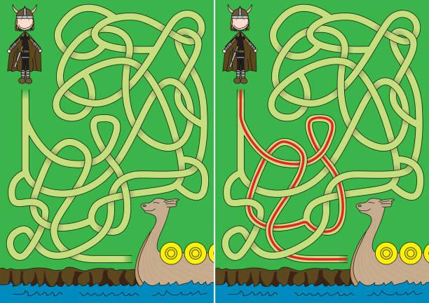 Labirinto de Viking - ilustração de arte em vetor
