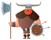 Cartoon Viking over white background. No transparency used. Basic (linear) gradients used.