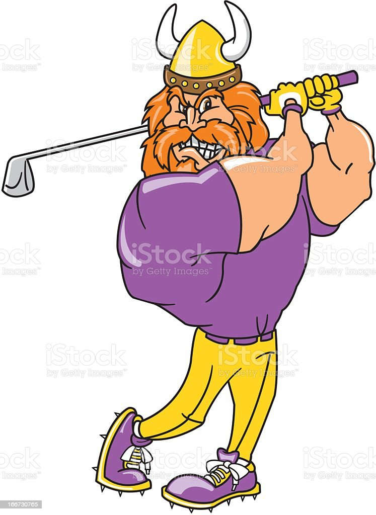 Viking Playing Golf royalty-free stock vector art